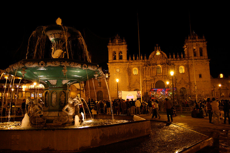 An ornate fountain in front of the Cathedral of Santo Domingo in Cusco's Plaza de Armas. There happened to be a rock concert going on when we were there (see the red and blue awning in front of the cathedral) which provided quite an exotic experience.