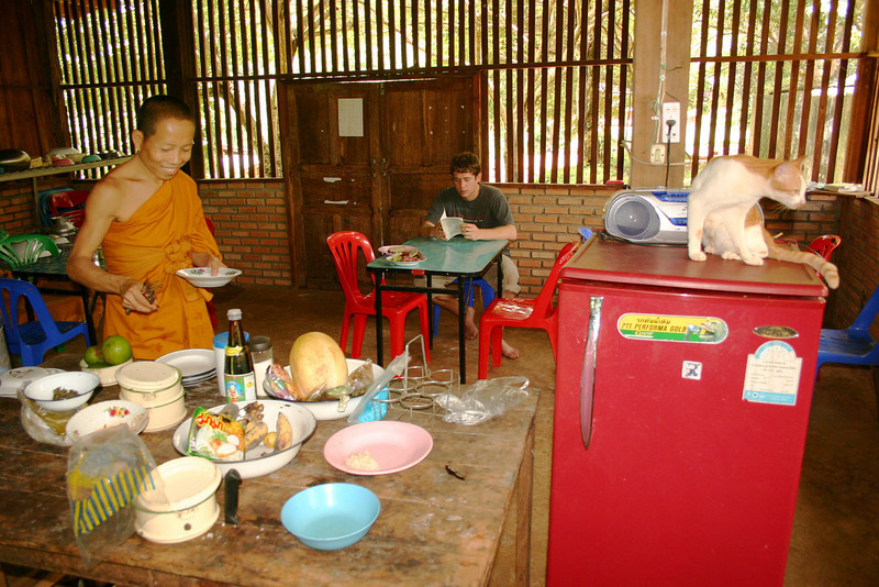 This monk was extremely hospitable and invited us into his home for a meal