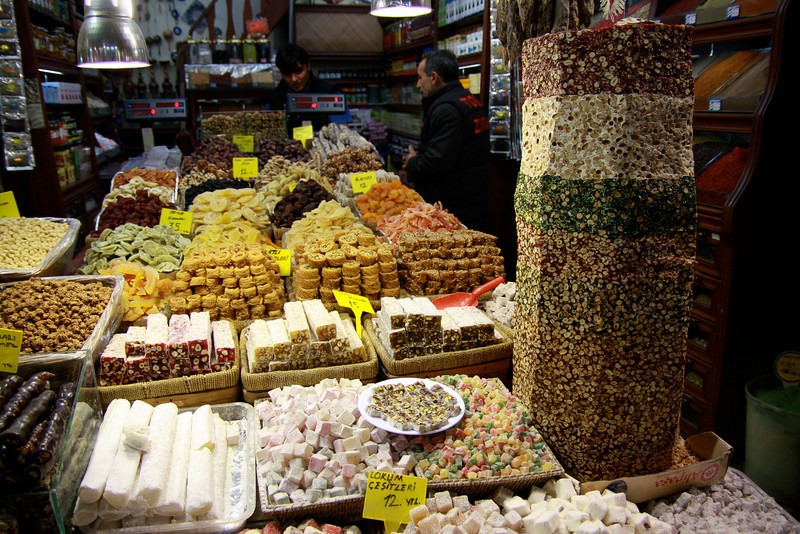 Traditional candy for sale in Istanbul. The huge stack is entirely edible! (Turkish delight and baclava are two of Turkey's desserts that have become world famous.)