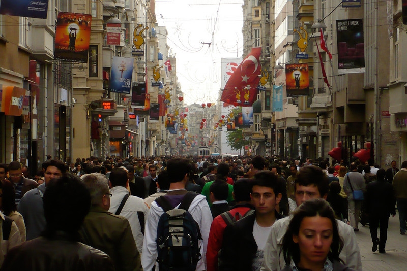 A busy shopping street in one of Istanbul's modern sections