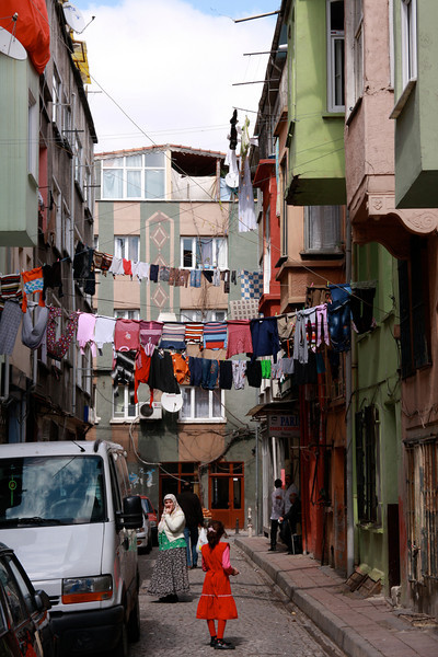 Clothes lines stretching across the street in an old Istanbul neighborhood