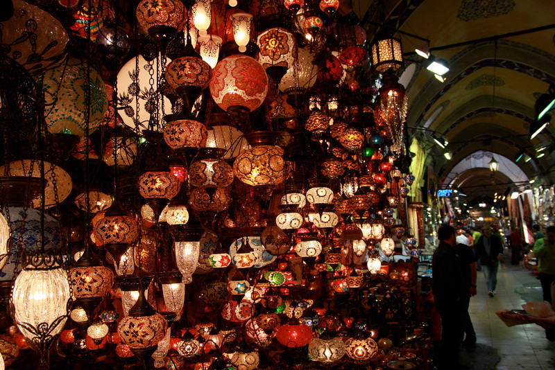 Traditional lanterns for sale in the labyrinthine Grand Bazaar in Istanbul