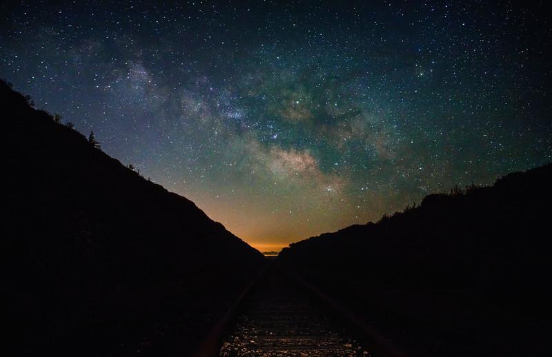 Santa Cruz-Davenport railroad tracks under Milky Way