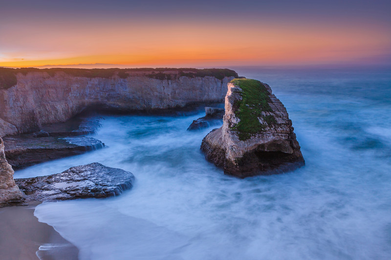Sharkstooth Cove, before sunrise, Santa Cruz North Coast