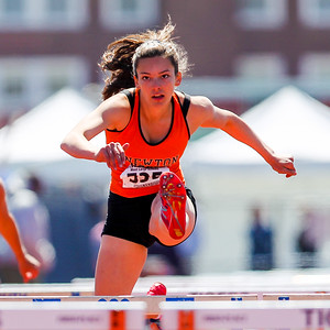 Newton North's Melissa Hurwitz won the large school frosh-soph 100m hurdles in 16.26
