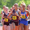 Lowell's Bryanna Allison leads the pack in the mile at the D1 State Championships.  Allison won in 5:09.57.