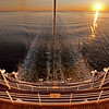At sea sunrise from the stern of Crystal Symphony.<br /> Atlantic Ocean on route to Quebec from Nova Scotia.