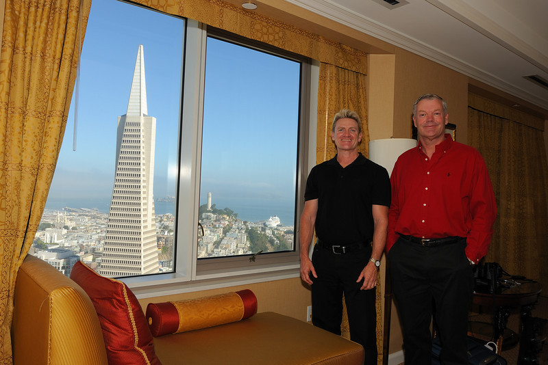 San Francisco from the Mandarin Oriental Hotel, California. Crystal Symphony can be seen docked in the background.