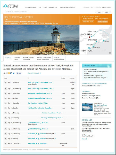 Sector 3 – New England and Canada - New York to Montreal on Crystal Symphony