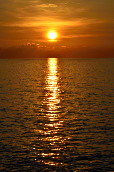 Caribbean sunset at sea
