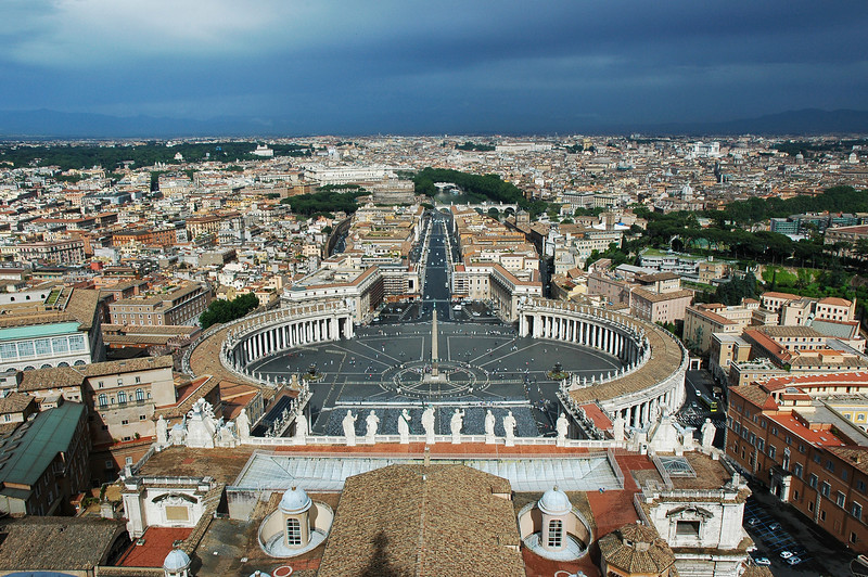 Saint Peter's Square is located directly in front of St. Peter's Basilica in Vatican City. Rome.