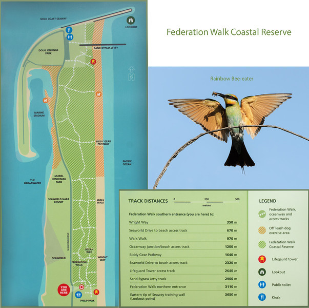 Federation Walk Coastal Reserve tracks.<br /> Composite image with information from the entrance sign.