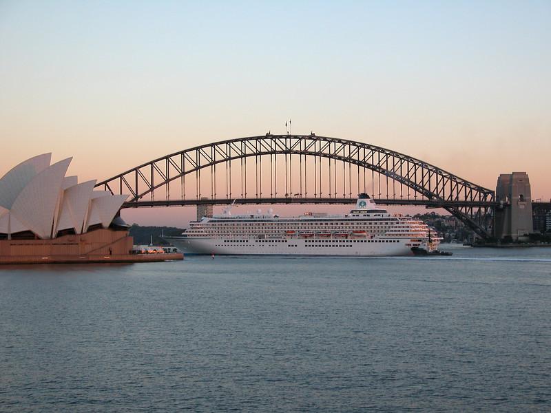 Crystal Harmony arrives Sydney Harbour. March 2004.