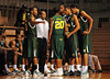 26 November 2010: Norfolk State Spartans head coach Anthony Evans (center) meets with his team during a time out during the first half against the Fairfield Stags at the Philly Hoop Group Classic played at the Palestra in Philadelphia, PA.