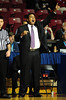 26 November 2010: Fairfield Stags head coach Ed Cooley yells instructions to his team during the first half against the Norfolk State Spartans at the Philly Hoop Group Classic played at the Palestra in Philadelphia, PA.