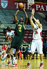 26 November 2010: Norfolk State Spartans forward Kyle O'Quinn (10) elevates for a shot over Fairfield Stags forwards Ryan Olander (34) and Warren Edney (22) during the first half at the Philly Hoop Group Classic played at the Palestra in Philadelphia, PA.