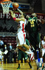 26 November 2010: Norfolk State Spartans forward Kyle O'Quinn (10) blocks the shot of Fairfield Stags guard Colin Nickerson (25) during the second half at the Philly Hoop Group Classic played at the Palestra in Philadelphia, PA.