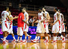 26 November 2010: Fairfield Stags players come to the bench during a time out against the Norfolk State Spartans at the Philly Hoop Group Classic played at the Palestra in Philadelphia, PA.