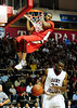 26 November 2010: Rutgers Scarlet Knights forward Robert Lumpkins (5) hangs on the rim after dunking the ball during the first half against the Saint Joseph's Hawks at the Philly Hoop Group Classic played at the Palestra in Philadelphia, PA.
