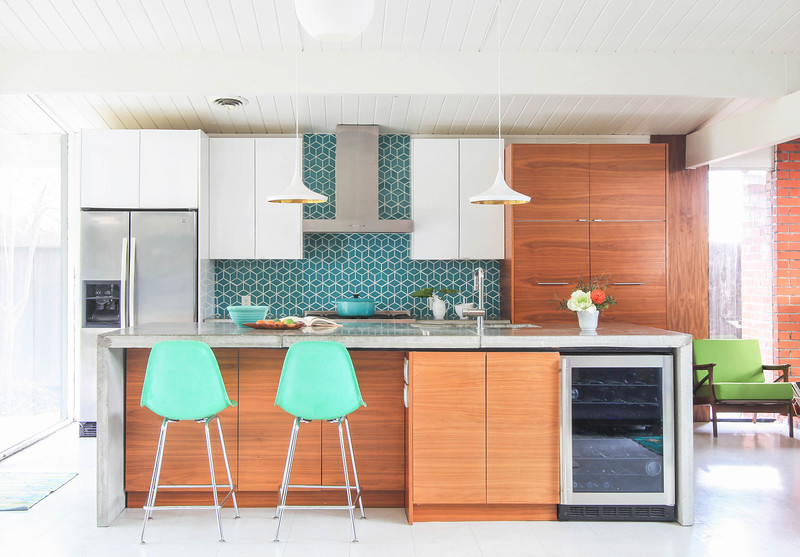 Walnut and White Kitchen with Small Diamonds Backsplash