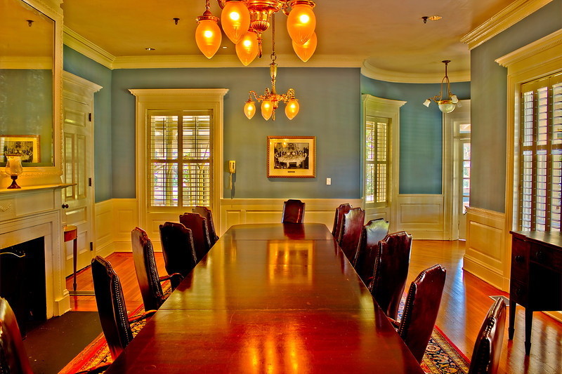 The room where The Federal Reserve System established Jekyll Island Club Hotel. This is my attempt at multiple (more than 3) shots to get outdoor and indoor image, this was 9 AEB shots 3 above 3 in the middle 3 below with a canon T2i with no flash before I knew about the Promote Control. Processed with Photomatix Fused not tonemapped. In real life you could see outside better but it was mid afternoon, would like to do at sunset colors outdoors, great colorful sunsets in the spring and fall.