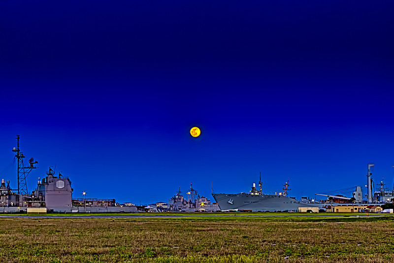 Full Moon Memorial  Day at Taps. Naval Station Mayport Florida Ships at dock in the basin and all is quiet with the man in the moon watching over all.(real not photoshopped)