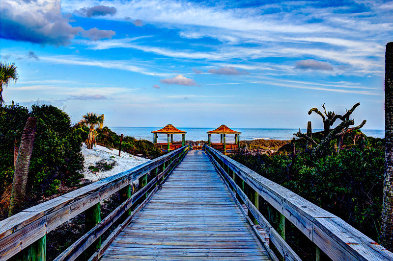 Twin Gazebos on the Ocean merged Hanna Park Jacksonville Florida Canon T2i