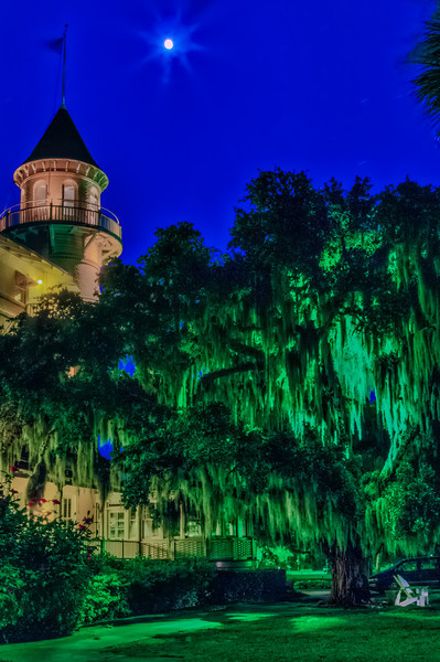 Illuminated Night at Hotel