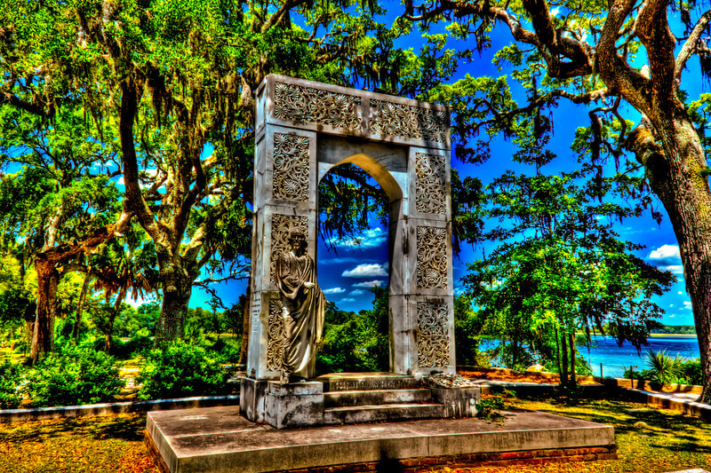 Heaven's Portal with Jesus at the gate. Bonaventure Cemetery Savannah Ga.. An arch monument signifies the passage to heaven..Brigadier General, CSA, Civil War. Gen. Lawton led a colorful career, graduating from West Point and Harvard Law School; serving in the Georgia legislature and on railroad boards. He performed distinguished duty in the Confederate quartermaster general's department. After the war he resumed politics, and was appointed US minister to Austria in 1887. only 3 shots +/- 2 AV.