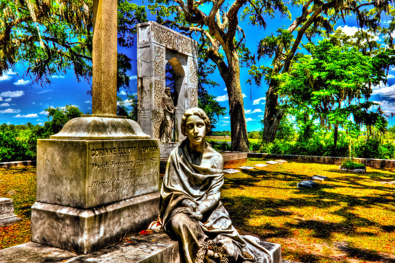 Corinne Lawton. statue of Lawton's wife. She died in 1871. It was placed in Bonaventure by her husband along with her headstone. She sits in the same plot, a few yards from his grave.