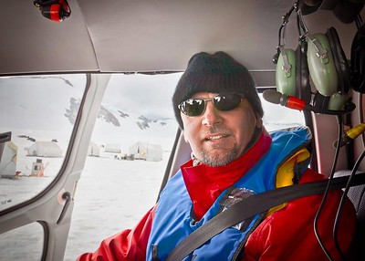 Sitting in the helicopter on top of Norris Glacier, Juneau, Alaska.