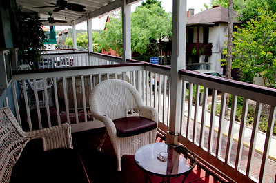 Balcony of our bed and breakfast looking out over one of the old St. Augustine streets.