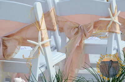 Blush Pink & Embroidered Champagne Double Chair Sashes, Shown with Starfish Aisle Hangers