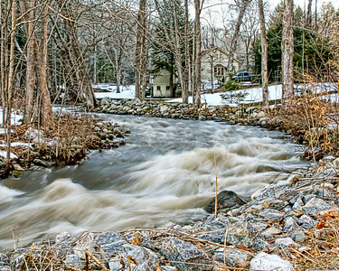 8 Mile River near loughlin and RTE 34 in Oxford, CT where it enters The Housatonic. Usually a lazy, rock strewn stream at this point.