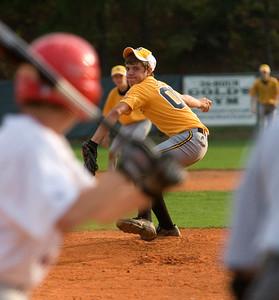 Harris County's Cody Bentley pitches to Bull Creek's Garrett Meyer Friday night at Britt David Park. (14 year olds)