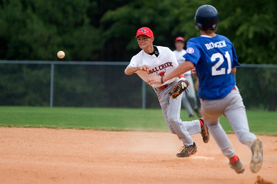 Bull Creek short stop Marc Eide turns a double play at second base against North Columbus Saturday afternoon at Britt David Park. (running is Ben Dodgen)