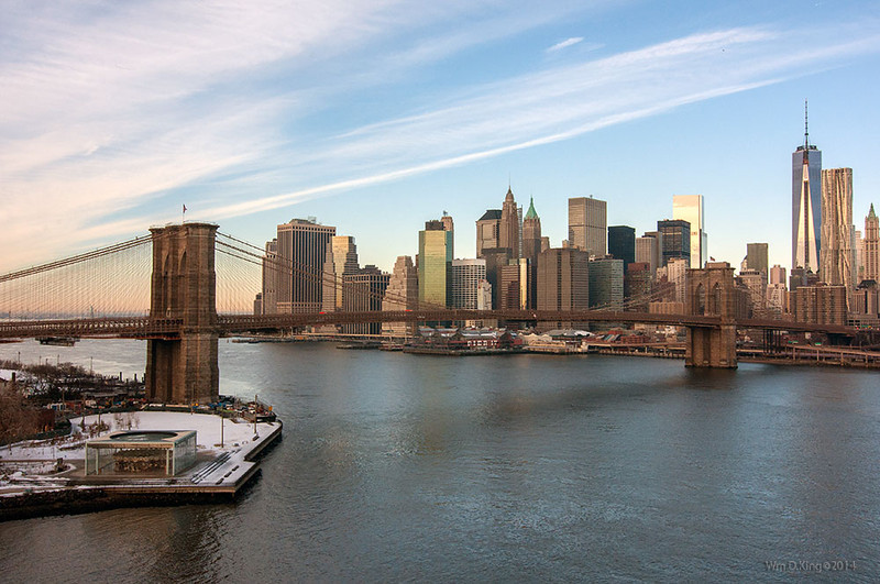 The Brooklyn Bridge as seen from the Manhattan Bridge, Feb. 2014.