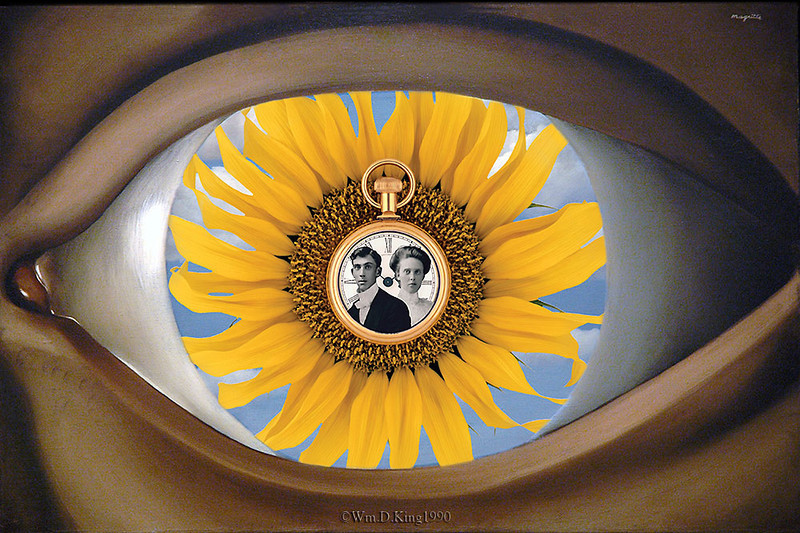 Photographic illustration of my Great Grand parents. Studio still-life of pocket watch and sunflower photographed on 2 1/4 and 4x5 formats color transparency film. Clouds added in Photoshop and Magritte's eye digitally photographed at the Modern Museum of Art.