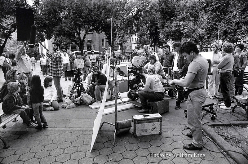 Two camera set; Crew on break just prior to filming.