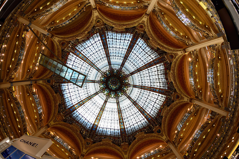 Art Nouveau stained glass main gallery of headquarters French department store