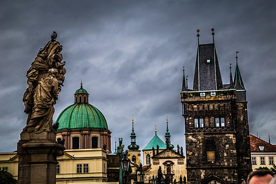 Threatening clouds with Prague skyline.