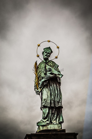 A saint on the Charles River Bridge in Prague.
