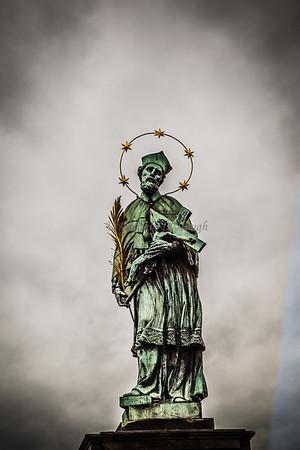 A saint on the Charles River Bridge in Prague.
