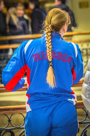 Athletic lady at Gum department store in Moscow