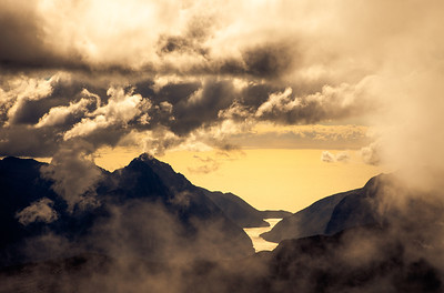 Milford Sound and Mitre Peak from Mt Underwood. For more photos and the story from this trip: http://highlux.co.nz/blog/2012/08/central-darran-mountains/