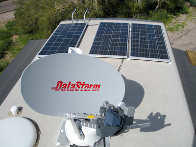 Solar Panels and Satellite dish for internet. Dish not in use at the moment.