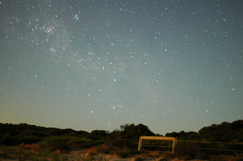 Astrophotography test, approx 3 minute exposure at F1.8, just after moonrise.