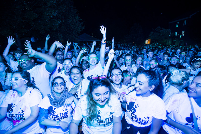 Freshmen attend the dance party in President's Park to celebrate the beginning of the 2017-2018 year.  Photo by:  Ron Aira/Creative Services/George Mason University