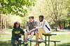 Students enjoy the spring weather. Photo by:  Ron Aira/Creative Services/George Mason University