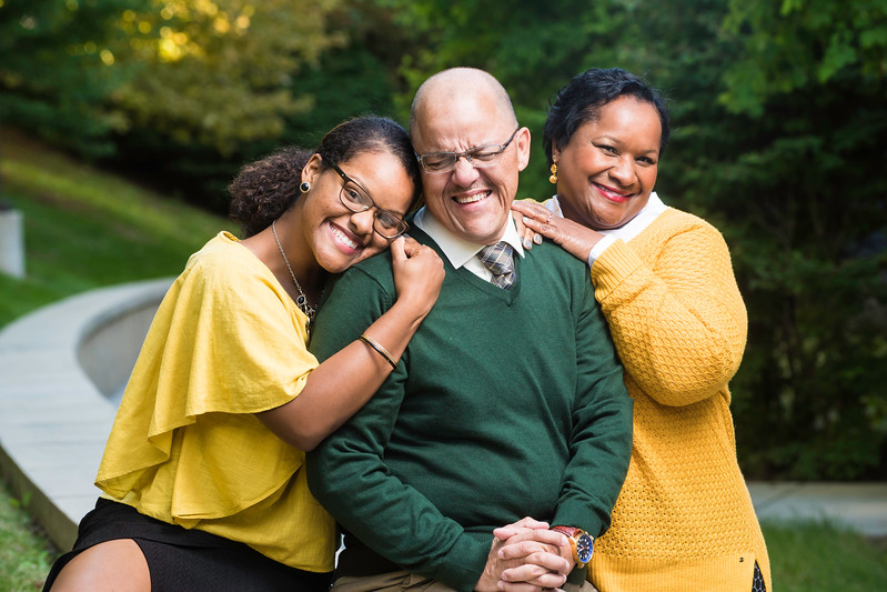 2016 Alan and Sally Merten Family of the Year Award goes to the Enrique family: daughter Risa, Carlos, and Jill.  Photo by Ron Aira/Creative Services/George Mason University.